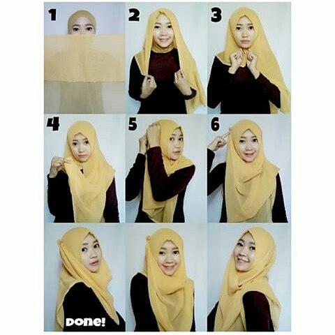tutorial hijab persegi empat