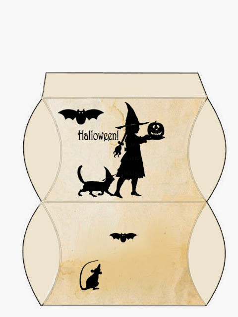 Cajas Almohada para Imprimir Gratis de Murciélagos, Ratones y Gatos