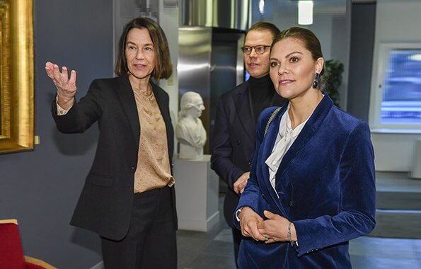 Crown Princess Victoria wore Dagmar Tuva cord blazer, Ebba Brahe Duchess earrings, Gianvito Rossi Levy ankle boots, Valentino bag