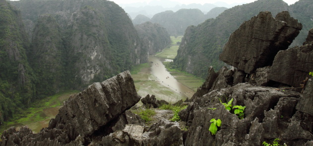 Tam Coc river and the limestone karsts as seen from Hang Mua, Vietnam