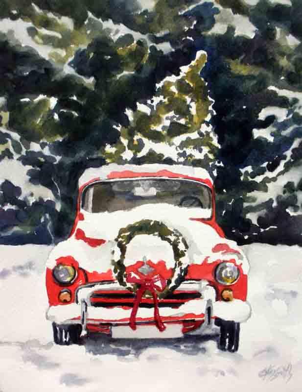 Old Truck With Christmas Tree.Kaysmithbrushworks Vintage Christmas Tree Truck