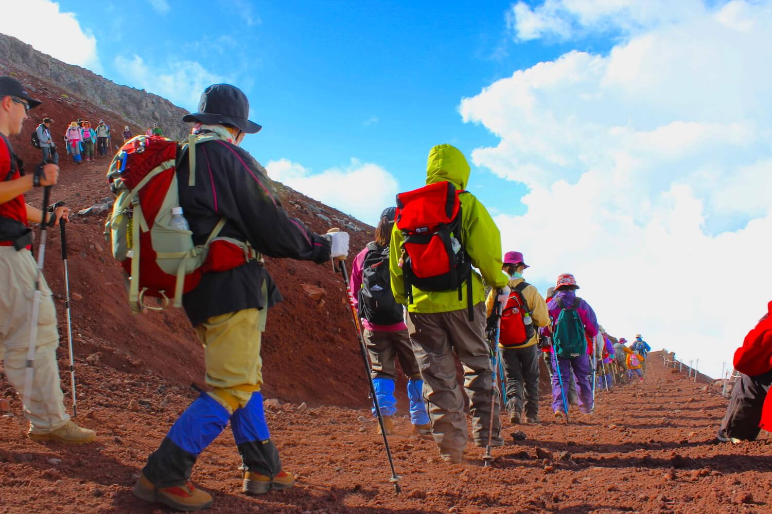 fashionable hiking clothes at mt fuji