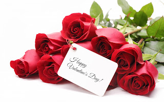 Bunch of red roses with Happy valentines day message