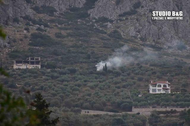 Πυρκαγιά σε λόφο κοντά στην Αγία Μονή στο Ναύπλιο