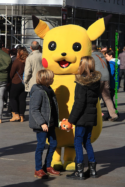 Street artist, Pikachu, Puerta del Sol, Madrid, Spain