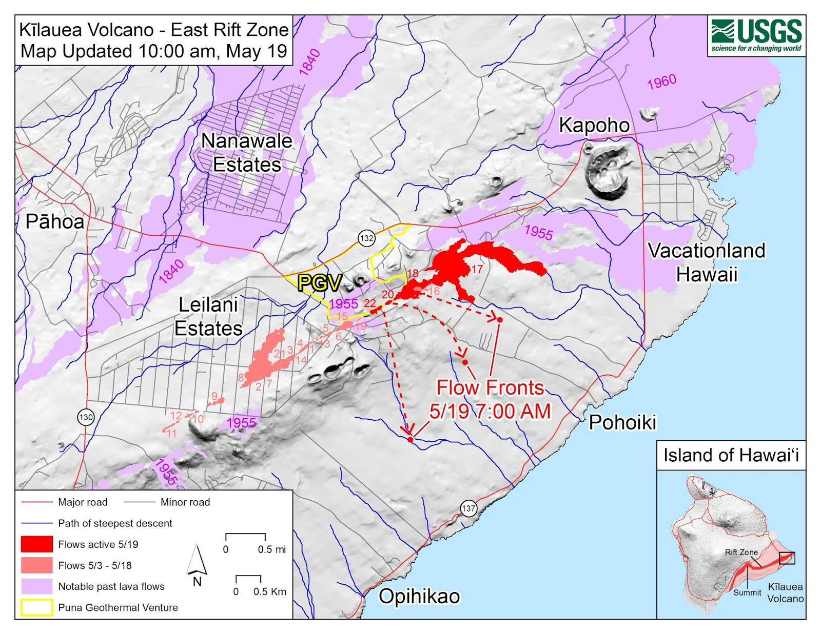 two lava flows are heading south to the sea see map below and may reach and interrupt hwy 137 near mackenzie state recreation area west of pohoiki