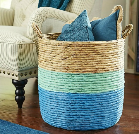 Blue Dip Wicker Basket