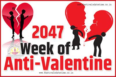 2047 Anti-Valentine Week List, 2047 Slap Day, Kick Day, Breakup Day Date Calendar