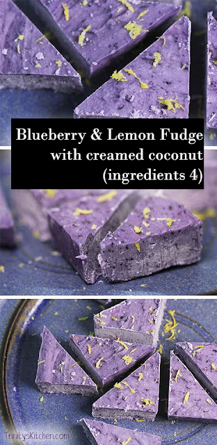 Yummy Blueberry & Lemon Fudge with creamed coconut (4 ingredients)