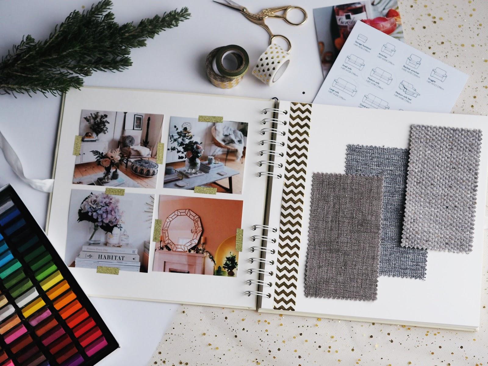 First Home Planning Living Room Scrapbook Flatlay Pastels Washi Tape Crane Scissors