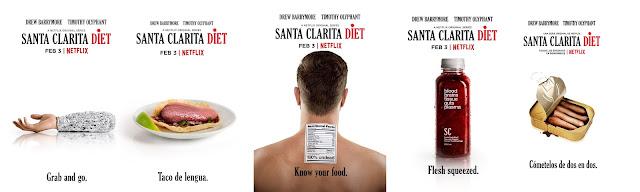 un brazo envuelto en papel aluminio con la frase comida para llevar, taco de lengua, una persoan con una etiqueta de información alimentaria de las que llevan la comida en los supermercados, una botella como las de los batidos vegetales pero de sangre y sesos, dedos en una lata