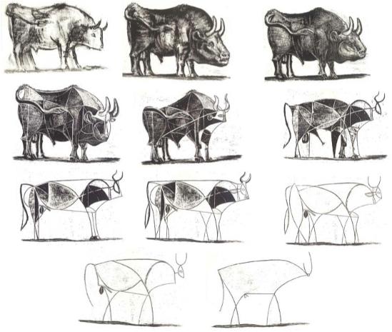 Serie de destrucción del toro, por Picasso