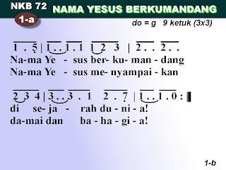 Lirik dan Not NKB 72 Nama Yesus Yang Berkumandang