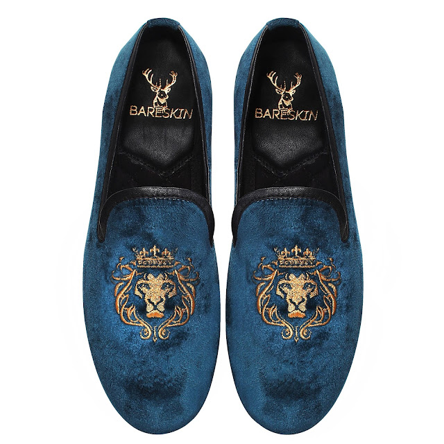BARESKIN GOLDEN LION KING EMBROIDERY BLUE VELVET SLIP ON