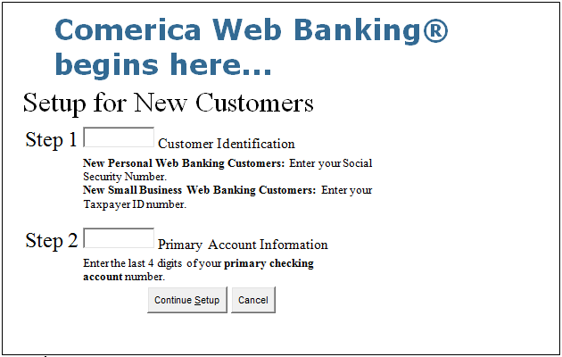 Comerica Login step