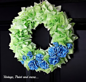 Vintage, Paint and more... diy rag wreath and fabric rosettes tutorial