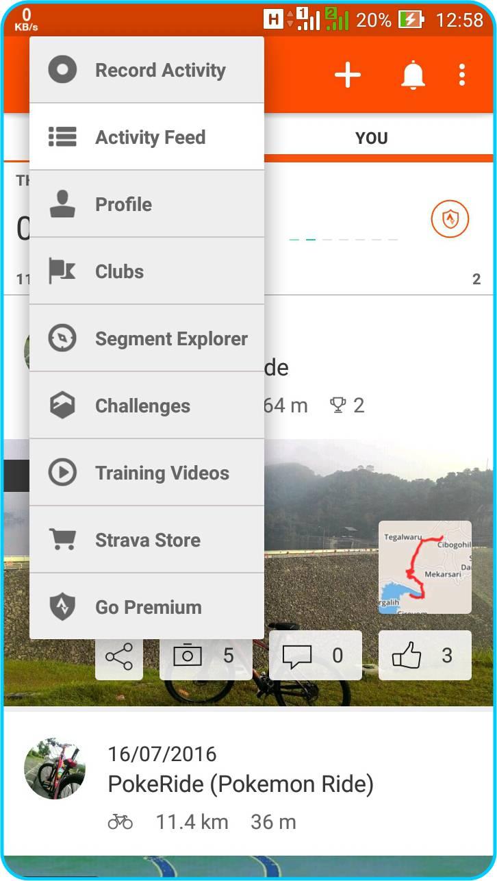 Strava Running and Cycling GPS - Pilihan Menu Pada Bagian Sidebar