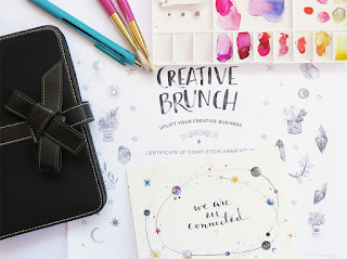 photograph of Black planner, enjoy pen, oil paint brushes, watercolor palette, Ana Victoria Calderon Artwork for event called Creative Brunch, a post card titled We are connected.