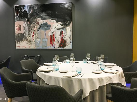 Comedor del restaurante BlueIzar. Comer en Bilbao.