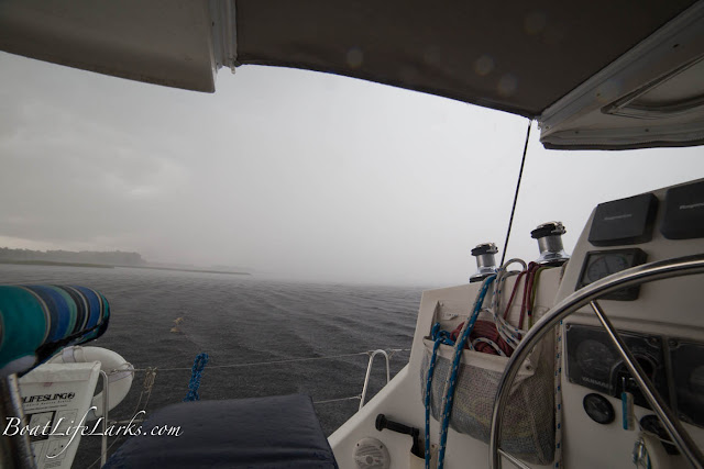 Rain from a sailboat, ICW, North Carolina
