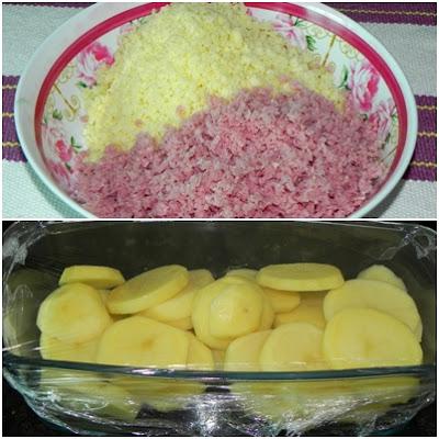 batata gratinada com presunto e queijo