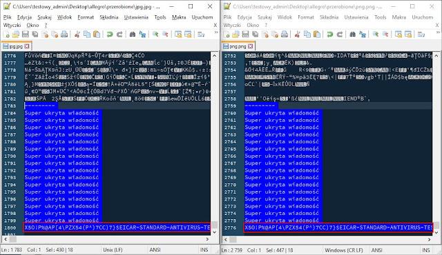 Na niebiesko treść wiadomości dodana do plików w formacie jpg i png. W czerwonej ramce ciąg znaków symulujący wirusa (Eicar test)
