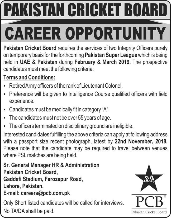 Latest Vacancies Announced in Pakistan Cricket Board PCB 7 November 2018 - Naya Pakistan