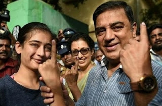 Kamal Hassan registers vote with Gauthami and his daughter Akshara at Alwarpet | TN Election 2016