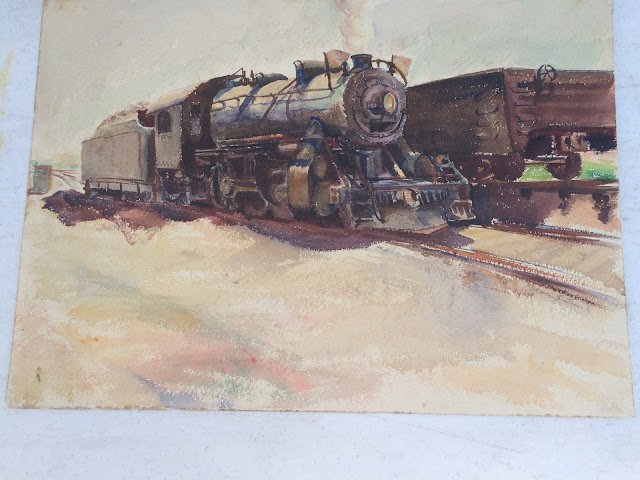 Quirk Train Painting, Quirk Engine Painting, Quirk Watercolor, Artist Quirk Watercolor Image of Train Engine