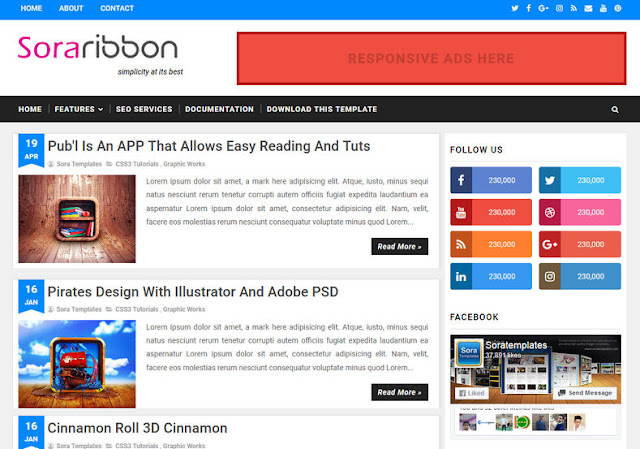 Sora Ribbon - Responsive Blogger Template