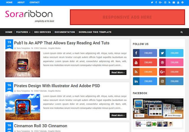 Sora Ribbon - Responsive Blogger Template