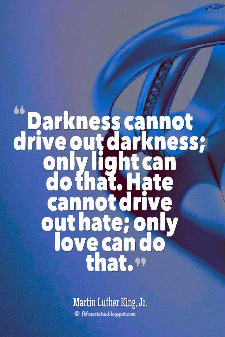 """Darkness cannot drive out darkness; only light can do that. Hate cannot drive out hate; only love can do that."" ― Martin Luther King, Jr. quotes about love"