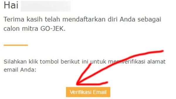 verifikasi email dari pihak gojek