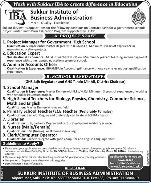 School Teachers & Admin Jobs in IBA Sukkur