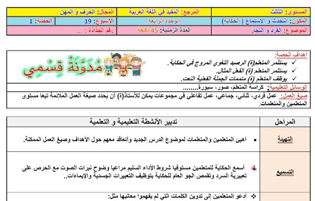 جذاذات الأسبوع الثاني من الوحدة الرابعة للمفيد في اللغة العربية للمستوى الثالث ابتدائي