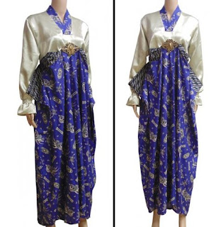 Model Gamis Batik Kombinasi Satin