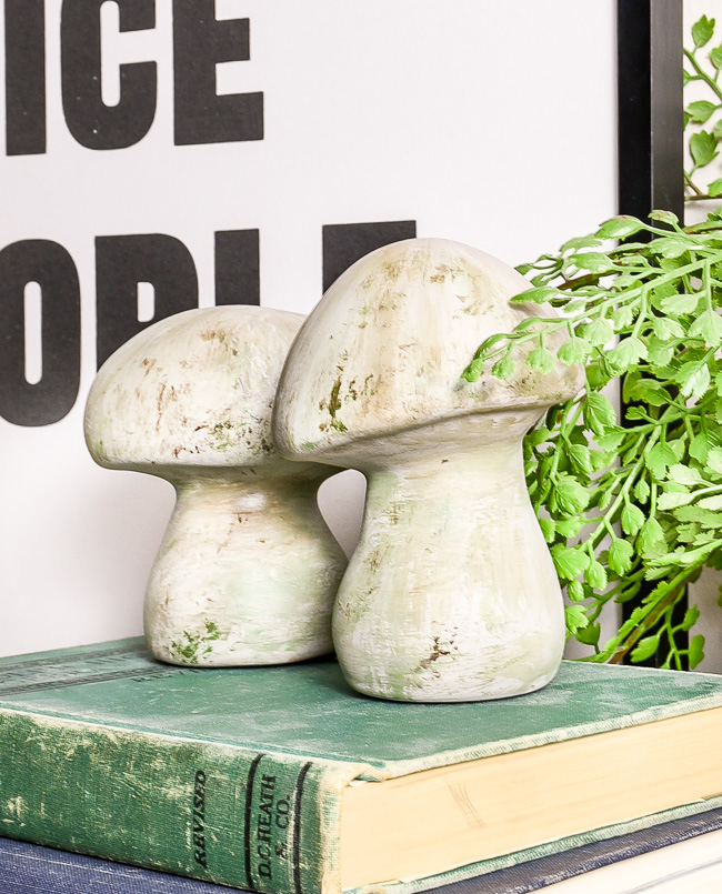 DIY Dollar Tree aged concrete mushrooms