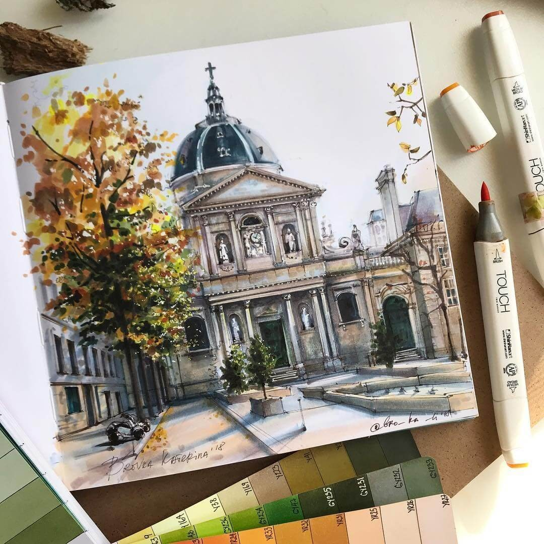 12-A-Church-Katerina-Brovka-Architecture-in-Bright-Color-Drawings-www-designstack-co
