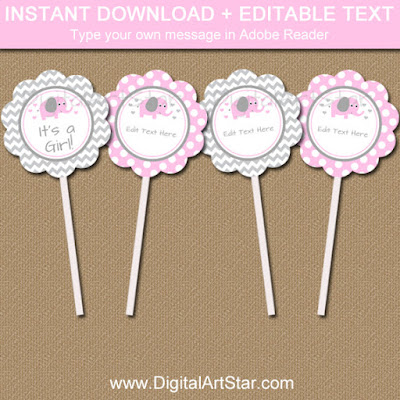 Pink Girl Elephant Baby Shower Cupcake Toppers - Gray Chevron and pink with white polka dots - edit the text in Adobe Reader