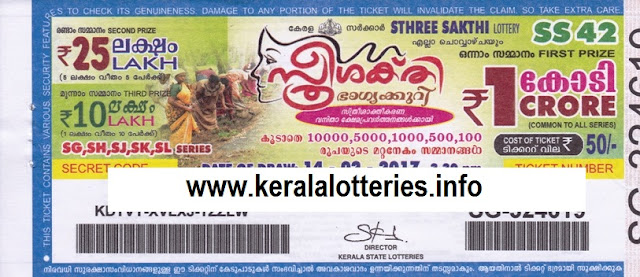 Official Kerala lottery result of Sthreesakthi (SS-53) on 02 May 2017