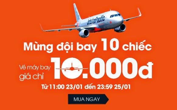 Jetstar bán vé máy bay với giá 10.000 đồng
