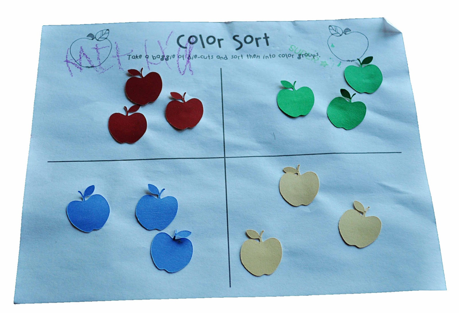 Children S Learning Activities Simple Apple Sort