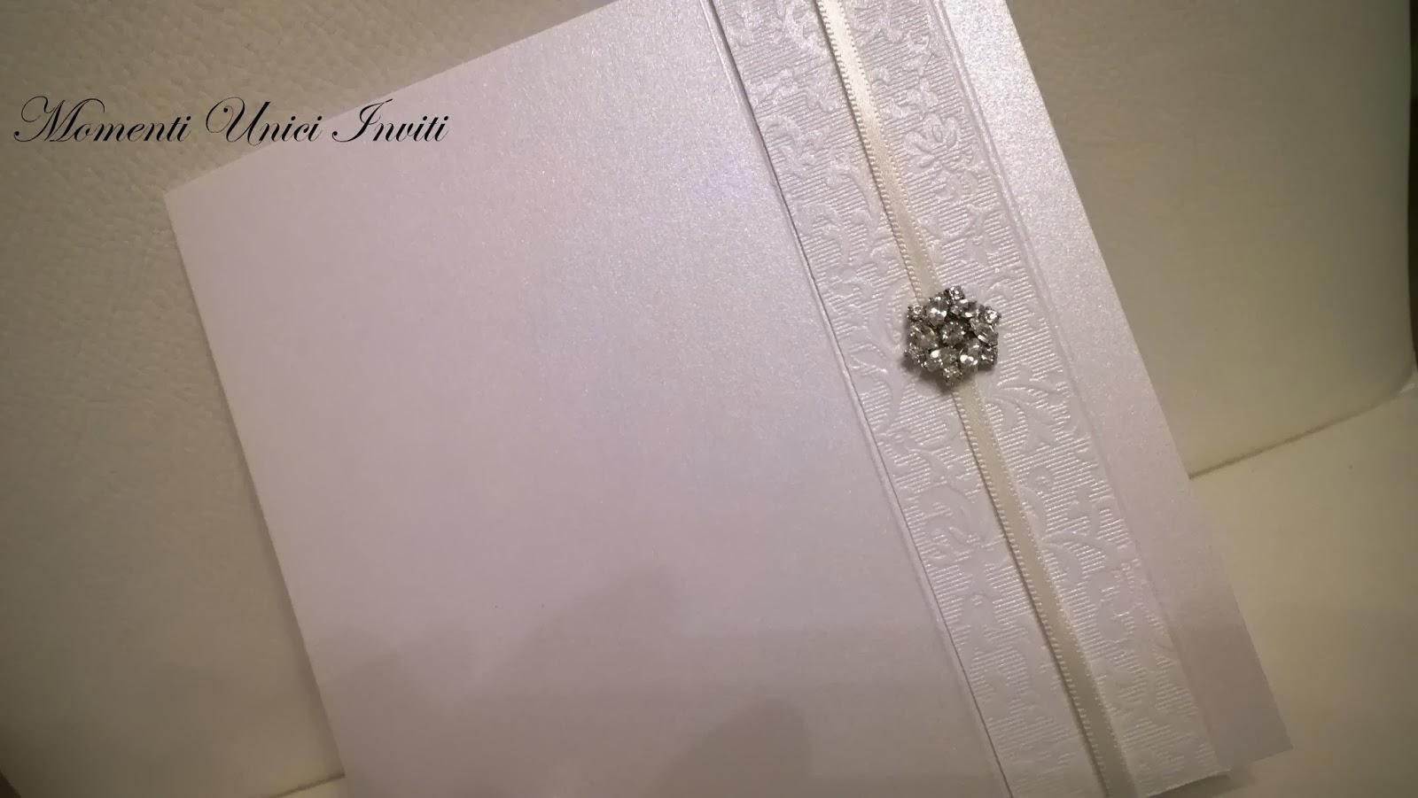 3 Partecipazione serie limitata luxury: mod. petit bijouxPartecipazioni con pietre Serie Luxury Total White