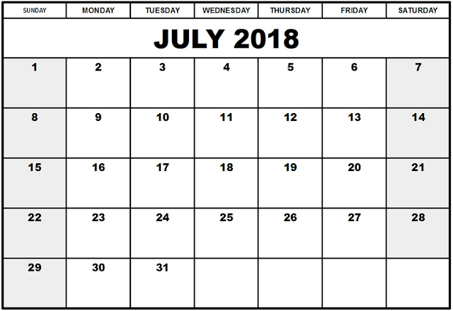 July 2018 holidays calendar