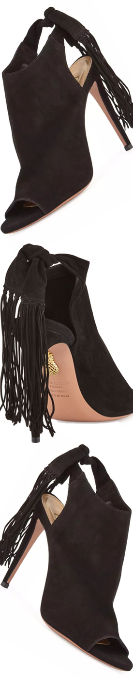 Aquazzura Suede Fringe 105mm Bootie, Black