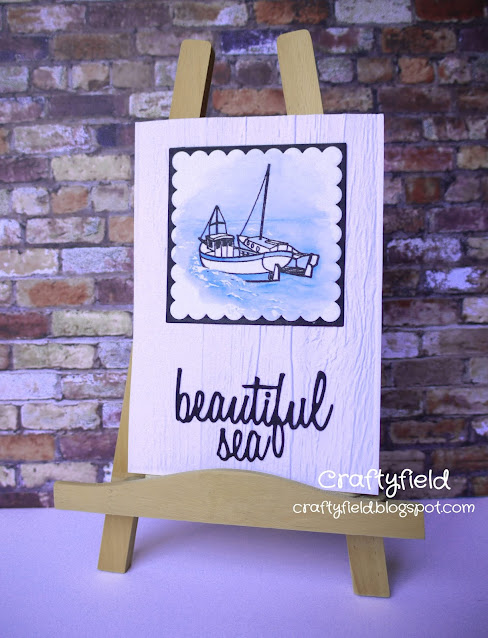 Stamped and Watercoloured greeting card