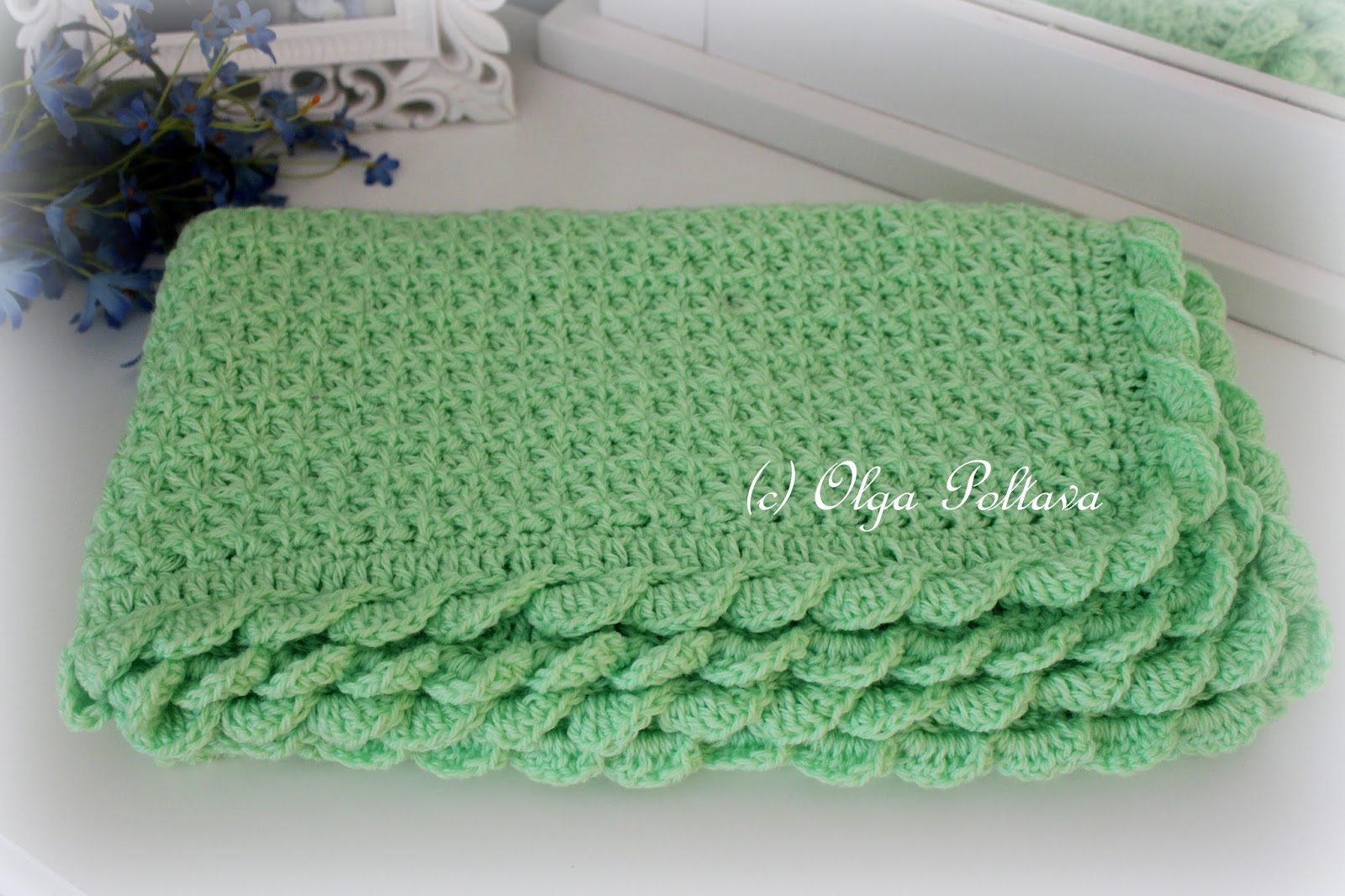 2bae6e606b3 Lacy Crochet  Star Stitch Baby Blanket with Scalloped Trim