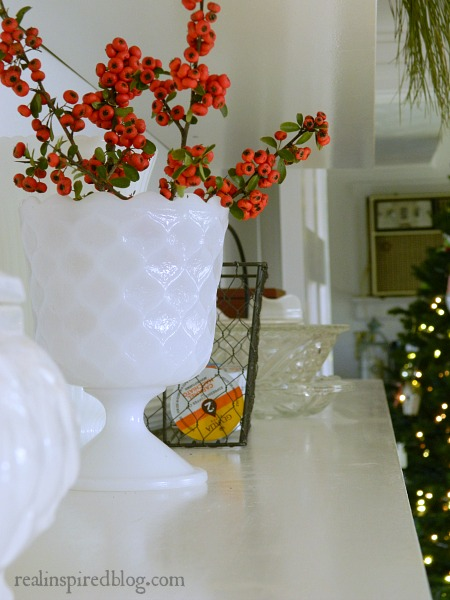 Decorating from the Yard red berries for Christmas