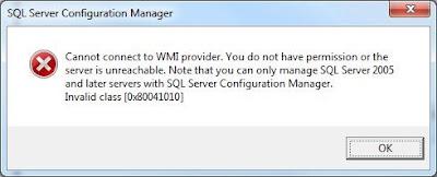 SQL Server Configuration Manager – Error 0x80041010