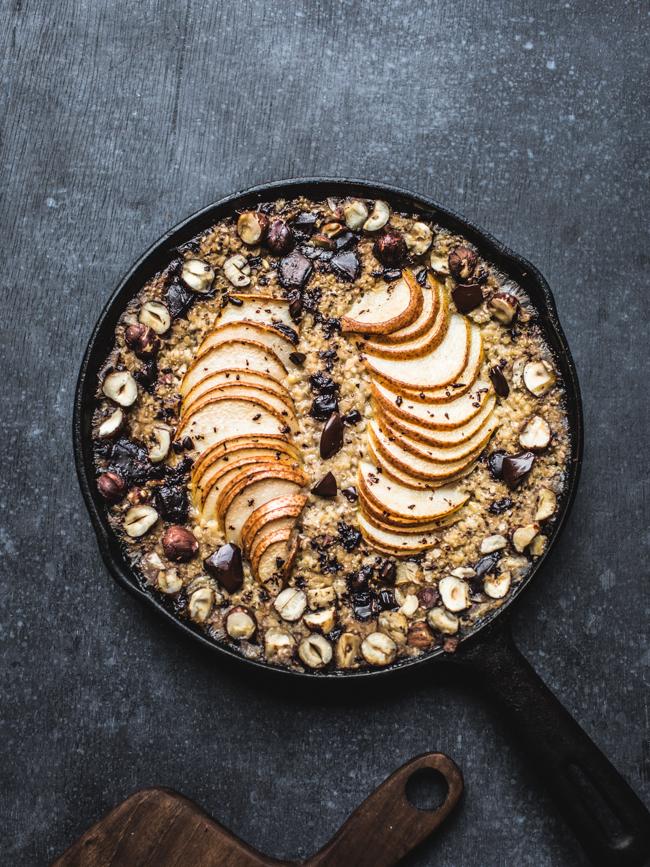 Baked Pear, Chocolate, and Hazelnut Oatmeal - Make Ahead Sabbath Breakfast   Land of Honey